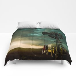 Pure Oklahoma - Windmill, Truck and Storm on Great Plains Comforters
