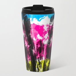 cactus with colorful painting abstract background in blue pink yellow Travel Mug