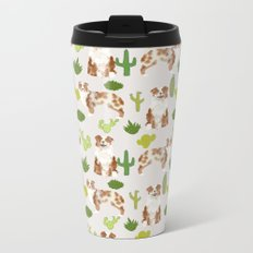 Australian Shepherd owners dog breed cute herding dogs aussie dogs animal pet portrait cactus Metal Travel Mug