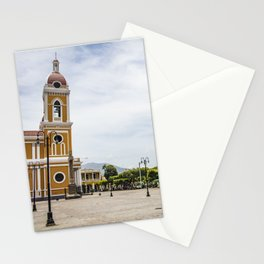 Granada Cathedral at the Parque Colon de Granada in Nicaragua Stationery Cards