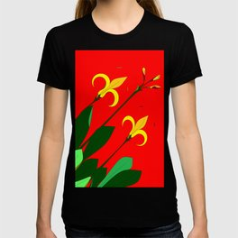 Vintage Flower with Red background T-shirt