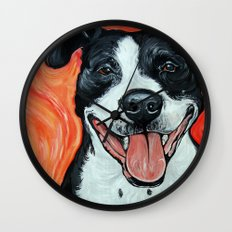 Black & White Adorable Pit Bull  Wall Clock