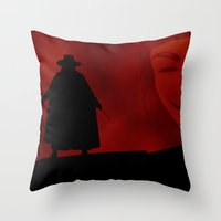 vendetta Throw Pillows featuring V for Vendetta (e3) by Ezgi Kaya