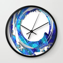 Blue And White Abstract Art - Swirling 1 - Sharon Cummings Wall Clock