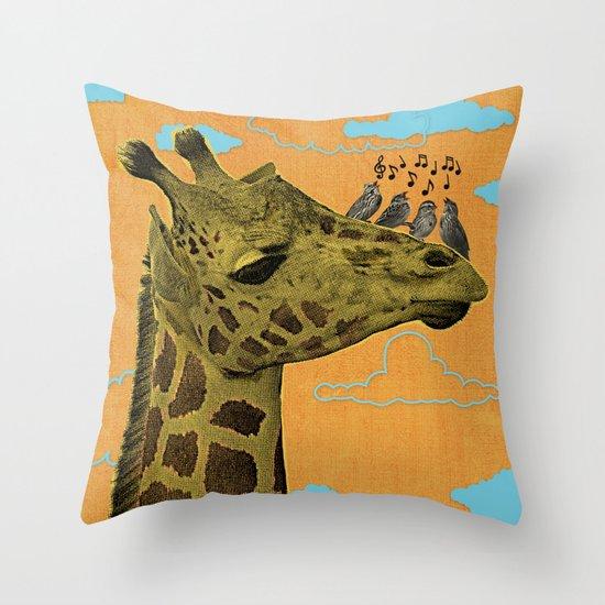 Giraffe & Singing Birds Print Throw Pillow