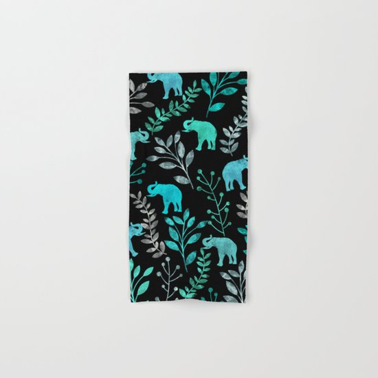 Watercolor Flowers & Elephants IV Hand & Bath Towel