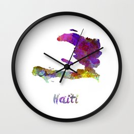 Haiti in watercolor Wall Clock