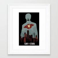 tony stark Framed Art Prints featuring Tony Stark by offbeatzombie