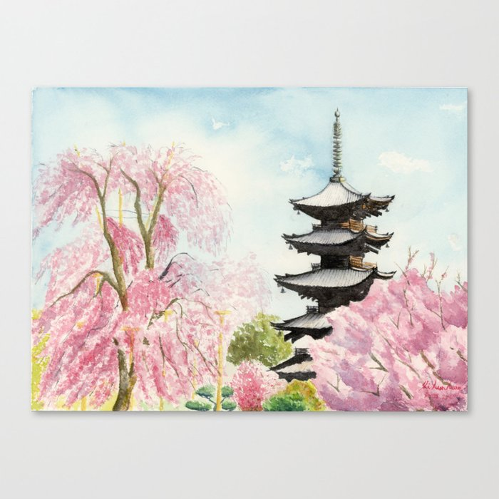 Japanese Temple Watercolor Painting Print By Suisai Genki