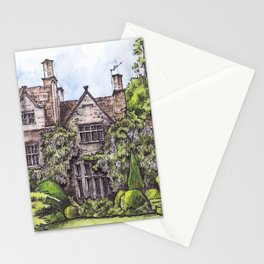 Old English Manor House ink & watercolor illustration Stationery Cards