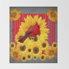 YELLOW SUNFLOWERS RED CARDINAL GREY  ART Throw Blanket