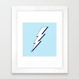 Just Me and My Shadow Lightning Bolt - Light-Blue White Blue Framed Art Print