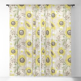 Rustic Sunny The Sunflowers Sheer Curtain