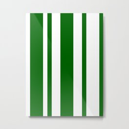 Mixed Vertical Stripes - White and Dark Green Metal Print