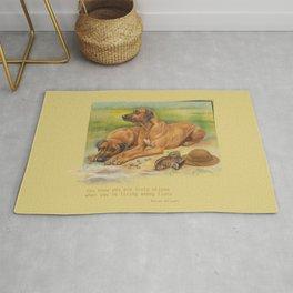 Rhodesian Ridgeback dogs painting & Quote of Karen Blixen Rug
