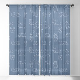 Corgi Pattern on Navy Background Sheer Curtain