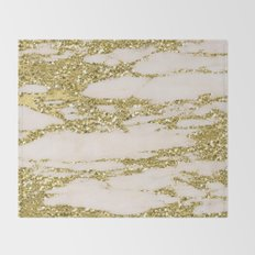 Marble - Gold Marble Glittery Light Pink and Yellow Gold Throw Blanket