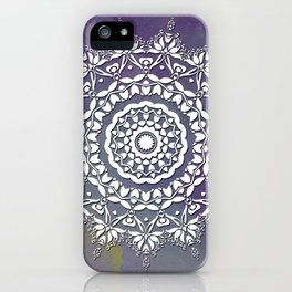 FLORAL WATERCOLOR VIOLET AND WHITE MANDALA  iPhone Case
