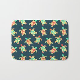 Cute Flower Child Hippy Turtles Bath Mat