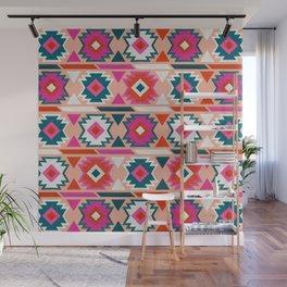 Kilim Abundance Pattern  - Blush & Teal Palette Wall Mural