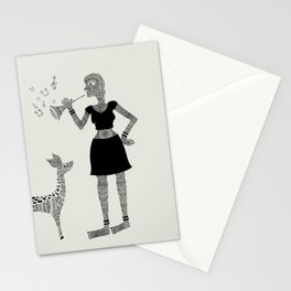 Patterned girl Stationery Cards