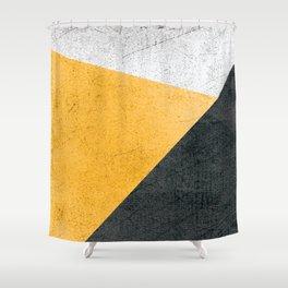 Modern Yellow & Black Geometric Shower Curtain
