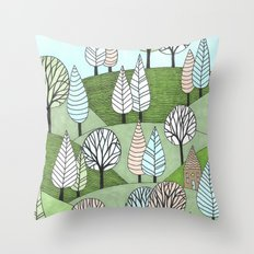 Little Cottage in the Woods Throw Pillow