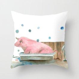 Pig bubble bath time Throw Pillow
