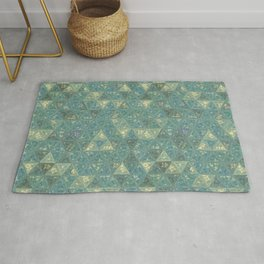 Blue and Beige Triangles Rug