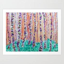 Autumn Aspens Watercolor Painting Art Print