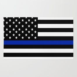 Blue Police Flag with Officers Rug