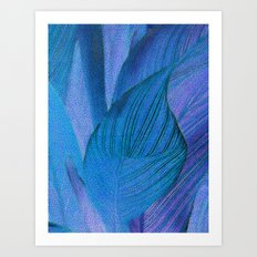 Exotic Leaves with Translucent Floral Pattern Art Print