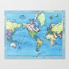Mercator Map of Ocean Currents Canvas Print