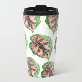 Begonia Leaf Pattern Metal Travel Mug