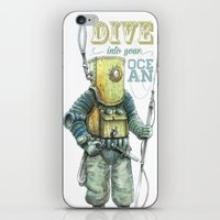 diver iPhone & iPod Skins featuring Diver by pakowacz
