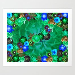 Flower explosion in green and blue Art Print