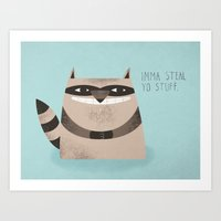 raccoon Art Prints featuring Sneaky Raccoon by Chase Kunz