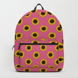 Bright Pink Sunflower All Over Print Backpack