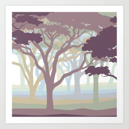 Dawn Forest Sunrise Trees Art Print
