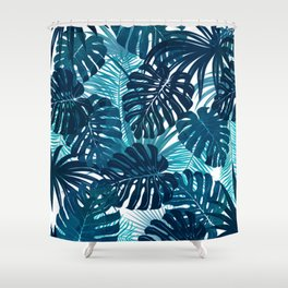 Navy Tropics Shower Curtain