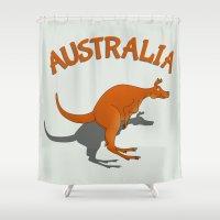 australia Shower Curtains featuring Kangaroo Australia by mailboxdisco