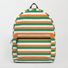 Irish Tricolour Horizontal Stripes Green Orange and White Irish Flag Backpack