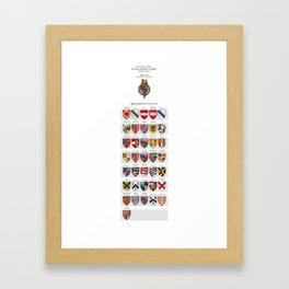 KING HENRY VII - Roll of arms of the Knights of the Garter installed during his reign Framed Art Print