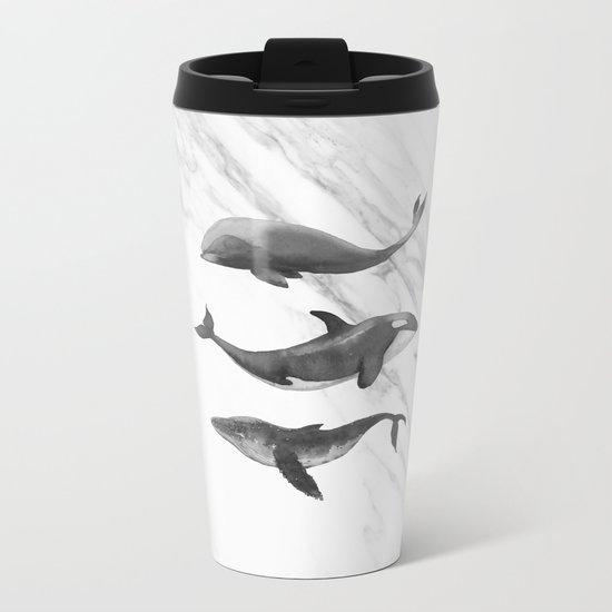 Ocean Whales Marble Black and White Metal Travel Mug