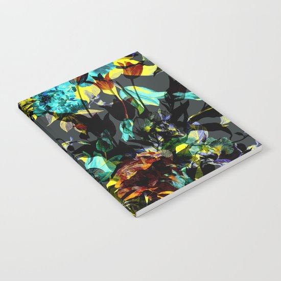 Seamless Abstract Flowers Pattern Notebook