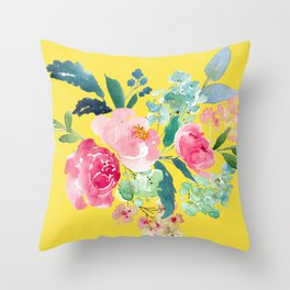 Yellow Watercolor Floral Pink Peonies Throw Pillow