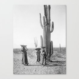 Vintage Native American Photo with Saguao Cactus Canvas Print