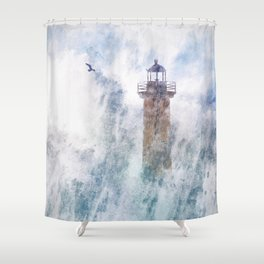 Storm in the lighthouse Shower Curtain