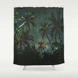 Tropical Palm Trees Night Star Sky Milky Way Carribean Night Sky Shower Curtain