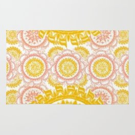 Citrus and Salmon Colored Mandala Textile Rug
